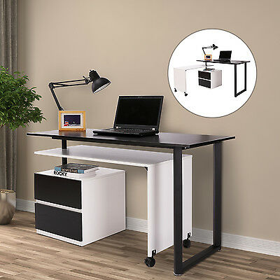Wooden Swivel Computer Table Executive Office Workstation Rotating w/ Wheels