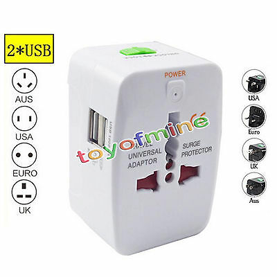 Voyage 2 USB Chargeur universel Adaptateur AU/UK/US/EUAll in One International