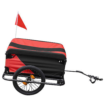 Folding Black / Red Bicycle Trailer carries Cargo Trailers Fabric Top Cover