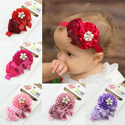 Baby Girl Infant Toddler Pearl Flower Hairband Headband Bandeau Hair Accessories