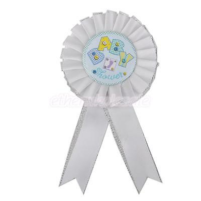 White Satin Baby Shower Buttons Ribbon Award ROSETTE New Birth Supply Parti