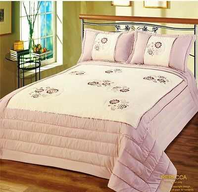 Luxurious Floral Bedspread Quilted Detail Single Double King Includes Pillowsham
