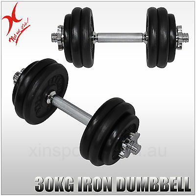 30Kg Dumbbell Weights Set - Iron Weight Plates + Stainless Bar