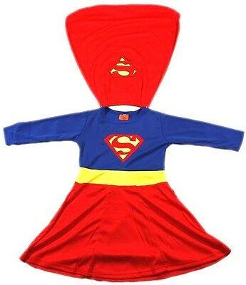 NEW Size 2=12 KIDS DRESS UP COSTUME SUPERHERO PARTY OUTFITS TOP GIRLS SUPERGIRL