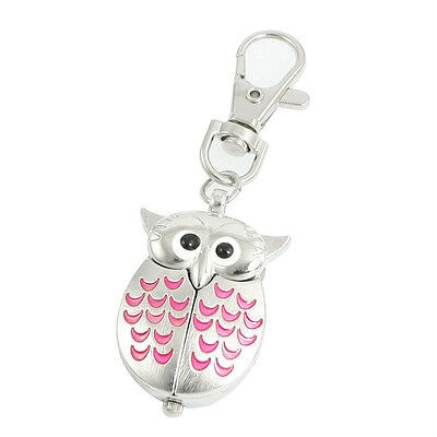 11Q4 Silver Tone Pink Metal Owl Pendant Knob Adjustable Time Keyring Watch