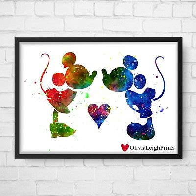 Disney Mickey Mouse And Minnie Watercolour Art Print-Wall Art-Gift-Nursery-Kids