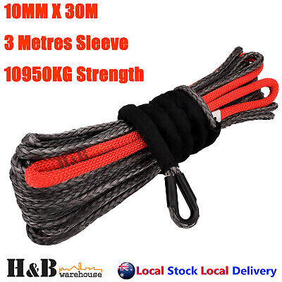 BLK 10MM x 30M Dyneema Winch Rope Synthetic Cable 4WD Tow Recovery C0079