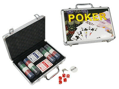 Set Da Poker Valigetta 200 Fiches 2 Mazzi Di Carte Dealer 5 Dadi Texas Hold'em