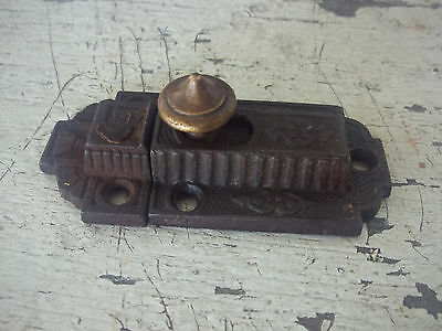 Antique 1871 Victorian Cast Iron & Brass Slide Cabinet Latch Cupboard Door Catch