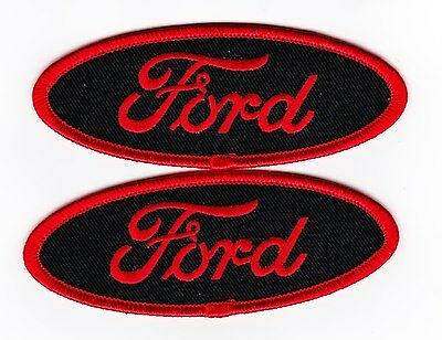 2 Ford Black Red Sew/iron On Patch Falcon Mustang Embroidered T-Shirt Jacket Car