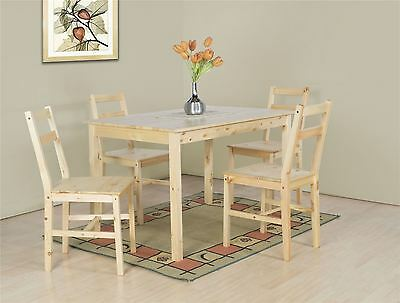 Sandra Natural Pine Wooden Dining Table and 4 High Back Chair Set