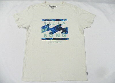 Billabong Men Green & Blue Waves Beige T Shirt Sz Large Tee