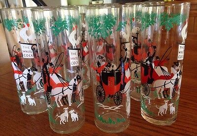"Set Of 10 Vintage Libbey ""The Arrival"" Stage Coach Scene Glasses ~ SWEET!"