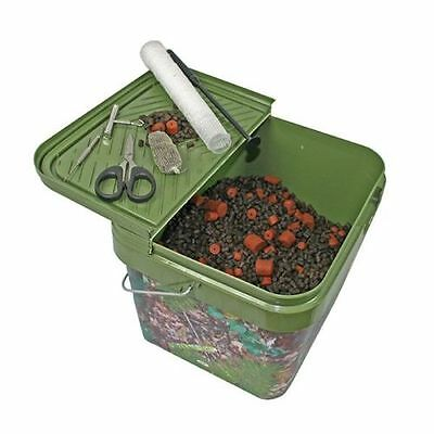Square 10L Camo Bait Buckets For Boilies Pellets With Hinged Table Lid Carp