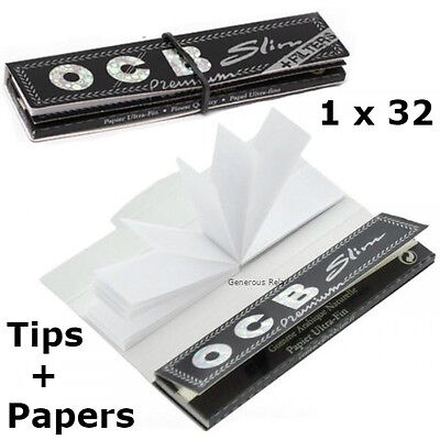 1 BOOKLETS OCB PREMIUM SLIM King Size Rolling 32 PAPERS  + TIPS