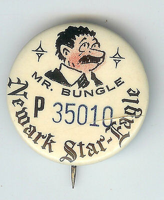 Vintage Newark Star-Eagle MR. BUNGLE Comic Strip Contest Pin pinback button