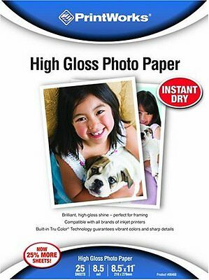 Printworks Premium Glossy 8 1/2 x 11 Inch Photo Paper 25 Sheets 00468