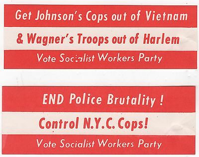 2 Dif. VOTE SOCIALIST WORKERS PARTY 1964 Mini Display Bands VIETNAM & NYC COPS