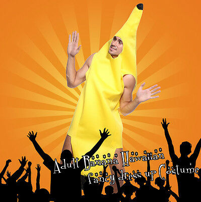 Adult Banana Costume Halloween Xmas Party Cosplay Unisex Fruit Fancy Dress Suit
