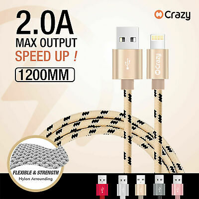 3 X CRAZY Lightning Data Cable Charger for iPhone 5 S C 6 7 Plus iPad iPod