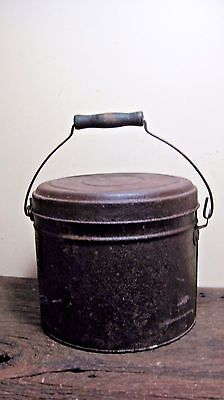 Vintage Bale Handle Lidded Tin Pail Home & Garden Storage Kitchen Bed Bath Shop
