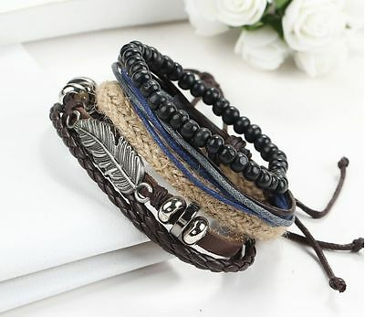 Hot Sale Men's Braided Leather Stainless Steel Cuff Bangle Bracelet Wristband