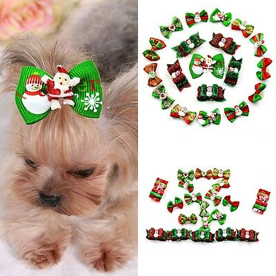 Christmas Pet Dog Hair Bows w/ Rubber Bands Cat Puppy Grooming Hair Accessories