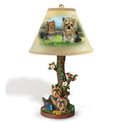"Dog Accent Lamp Youthful Yorkie W/shade By Linda Pikcen 18""tall! Bradford Instok"