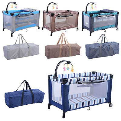 Infant Baby Travel Cot Crib Bed Play Pen Bassinet Playpen Child Play Yard 3 in 1