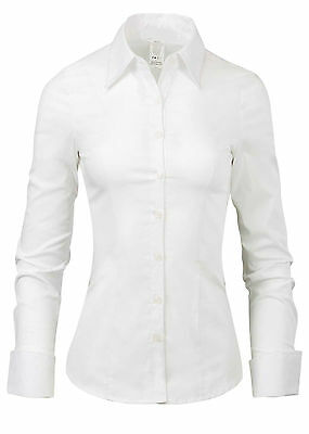 LA2NY Womens Tailored Long Sleeve Button Down Shirt with Stretch