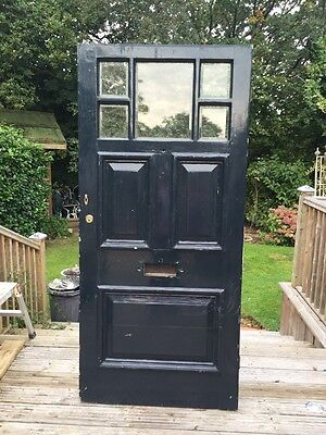 Large Victorian Front Door Wood Reclaimed Old Antique Period Pine Bevelled Glass