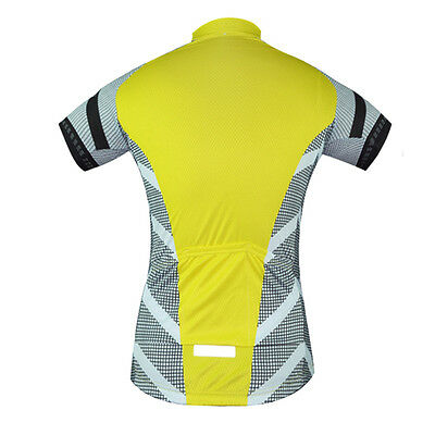 Aogda Team Cycling Shirts Yellow Men's Bike Cycle MTB Jersey Tops Reflective