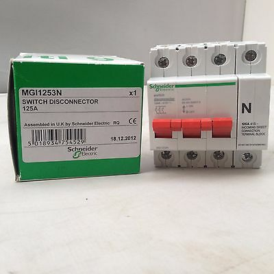Schneider 3 Pole Non-Fused Incomer Switch 125 A Mgi1253N - New Old Stock