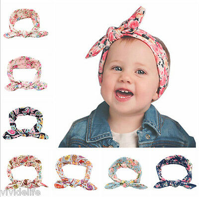 Baby Rabbit Flower Blooms Headband Bow Hair Band Photo Prop Infant Toddler Girl