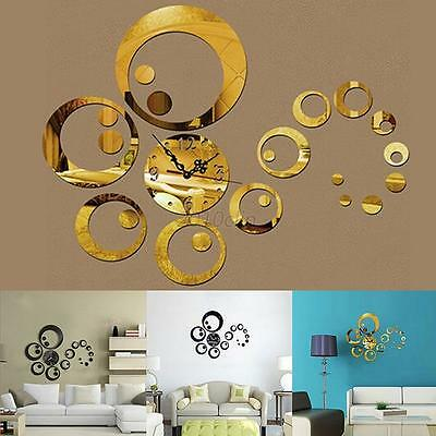 Wall 3D DIY Clock Watches Sticker Mirror Surface Modern Home Office Art Decor