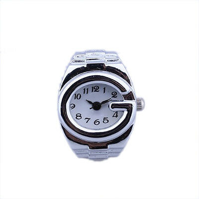 11Q4 Women Silver Alloy Quartz Arabic Number Dial Pocket Finger Ring Watch