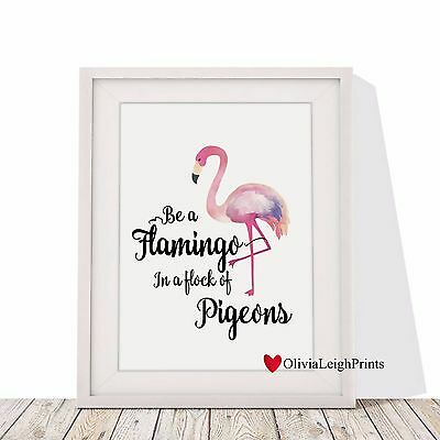 Flamingo Word Art Print Watercolour-Wall Art-Gift-Nursery-Home Decor-Quote