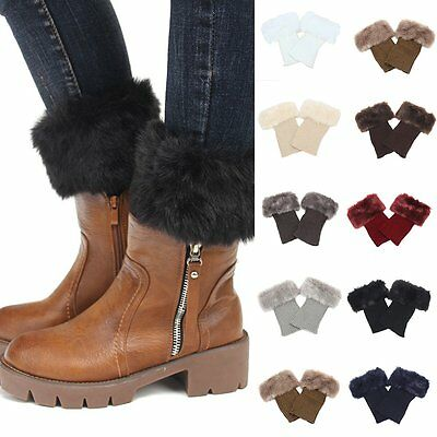 Women Winter Crochet Knit Fur Trim Leg Warmers Cuffs Toppers Boot Socks Popular