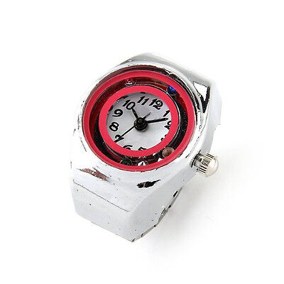 "11Q4 Silver Tone Quartz Pocket Finger Ring Round Watch 0.79"" HOT"