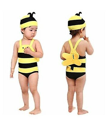 Baby Toddler Cute Bumble Bee Swimming Costume Wings & Cap Fancy Dress Swimsuit