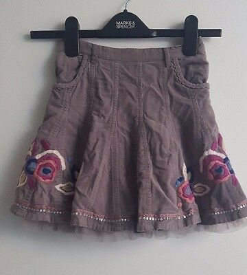 Lovely Monsoon Girls Skirt With Embroidery Sequins Grey Violet Size  8-10 years