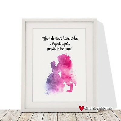 Disney Beauty And The Beast Watercolour Art Print-Wall Art-Gift-Nursery-Quote