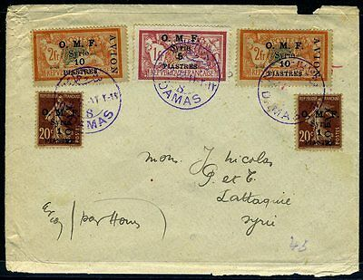 SYRIA (FRENCH)-1922 Airmail Cover from Damascus to Latakia bearing 1921 Airmail