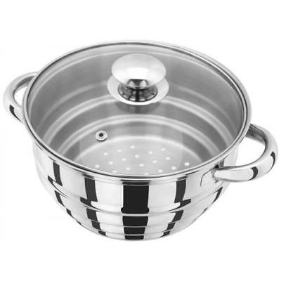 Judge Stainless Steel Multi Steamer Insert & Glass Lid Fits 16cm 18cm 20cm Pans