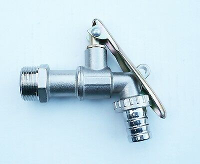 "LOCKABLE Nickle plated brass Lever Tap. 3/4"" BSP. IBC Water Butt Drum"