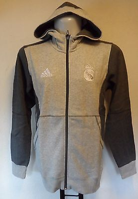 Real Madrid Grey Fz Hoody By  Adidas Size Adult Extra Small Brand New With Tag
