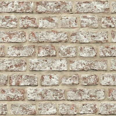 Rustic Red Brick Wall Stone Effect Arthouse Feature Wallpaper 889604