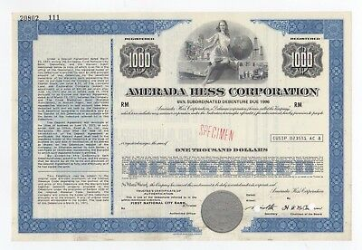 SPECIMEN - Amerada Hess Corporation Stock Certificate