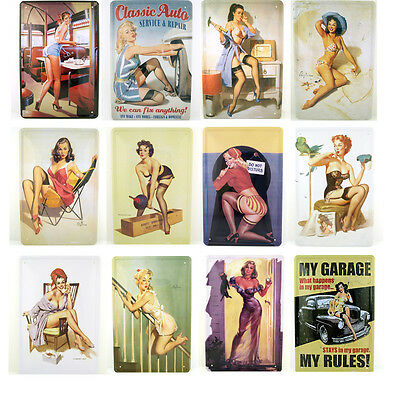 Blechschild Pin Up Nostalgieschild 30x20cm Rockabilly Deko Retro Wanddeko Girl