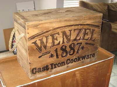 "Vintage Wenzel 1887 Cast Iron Cookware Empty Wooden Storage Crate 22""x11""x15"""